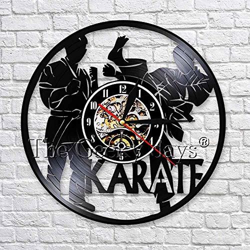 wtnhz LED-Sport vinyl record 3D wall clock karate particle silhouette LED lighting clock decoration handmade unique original gift idea