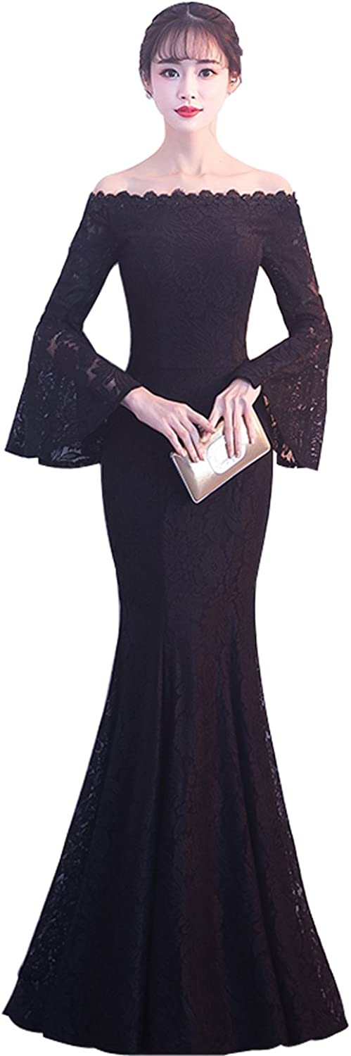 Epinkbridal Sexy Off Shoulder Mermaid Long Prom Dress Gowns Horn Sleeve Women's Lace Evening Formal Dress