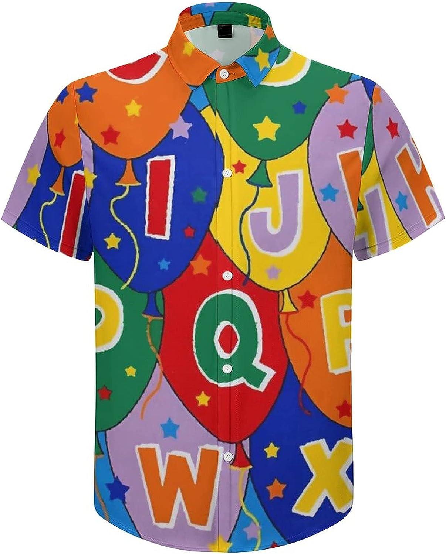 Men's Regular-Fit Short-Sleeve Printed Party Holiday Shirt Alphabet Balloon Star