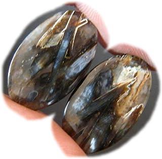RASIO Palo Ágata Cabujón Par, Stick Ágata Gemstone, Forma de pera Natural Stick Ágata, 24Ct, 23x15mm K-03011