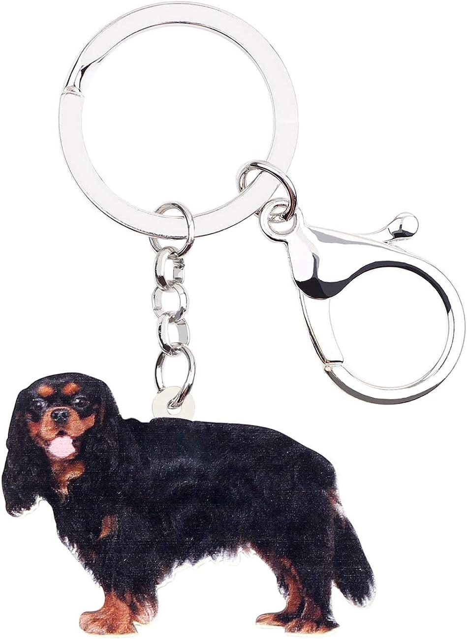 WEVENI JEWELRY WEVENI Acrylic Black Cavalier King Charles Spaniel Dog Keychains Pets Key Ring For Women Girls Bag Purse Car, 32mm x 46mm
