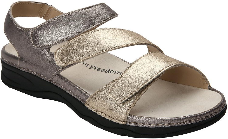 Drew Women's Angela Black Smooth Leather Sandals 10 M