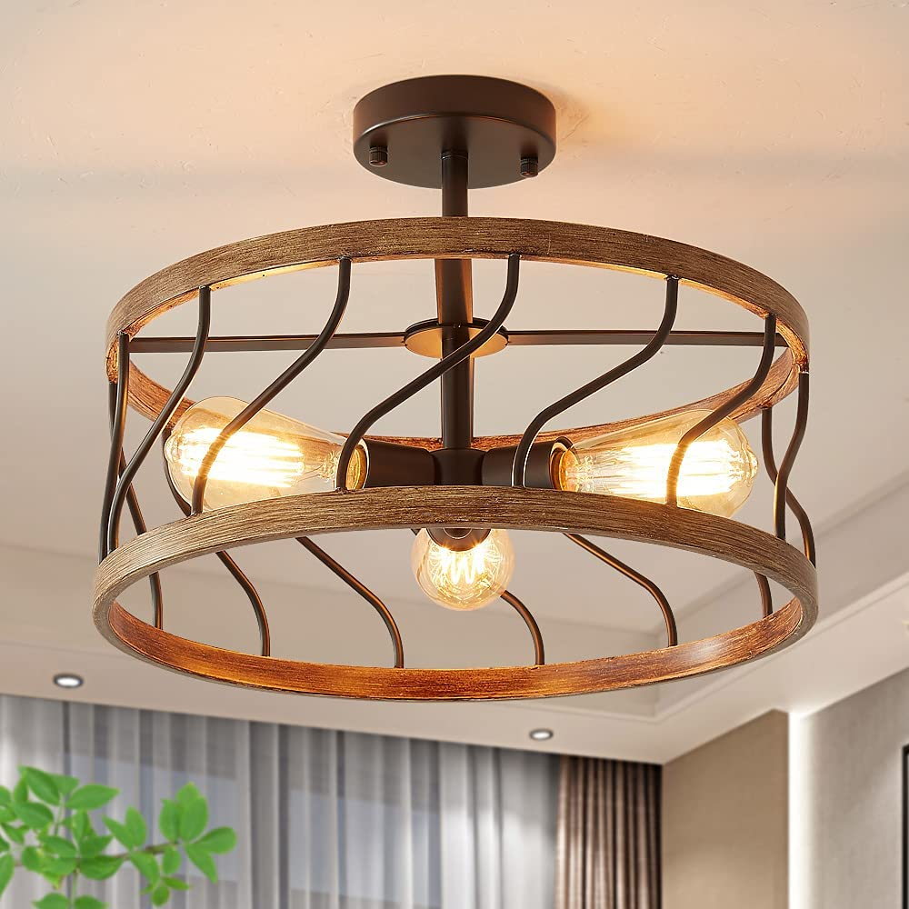 Biewalk Retro Semi Flush Mount Ceiling Light 16'' Metal 3 Light Ceiling Light Fixture
