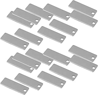 Baoblaze 20 Pieces Metal Flat Rectangle Blank Coin Engraving Stamping Charms Tag Necklace Bracelet Pendants Findings for J...