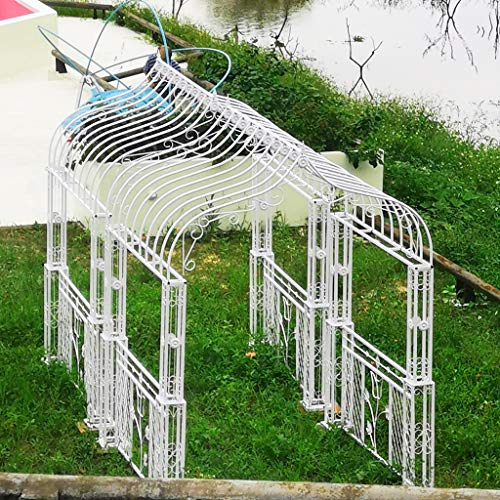 YICOL Metal Arbour Archway for Climbing Plants Roses Vines,Wedding Arch,275cm x 200cm x 200cm,Wrought Iron,White