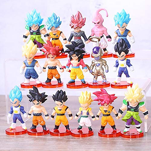 16Pcs/Set Dragon Ball Z Mini Toys Super Saiyan God Broly Son Goku Vegeta Vegetto Gotenks Gohan Majin Buu Freeza Figuras