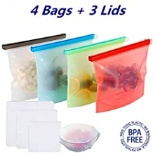 Zip Silicone Bags Reusable Silicone Food Storage Bags 4 Pack 1000 ML Food Preservation Bag Airtight Seal Storage Container and 3 pcs Silicone Stretch Lids Hot or Cold Liquid Snack Lunch (4PCS)