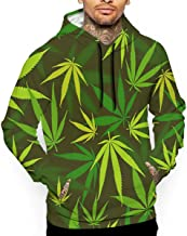 Sudadera con Capucha para Hombre, diseño de Hojas de Marihuana, Color Verde y Amarillo, Ultra Suave y Transpirable, de Manga Larga