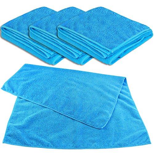 Lot de 4 Chiffons universels XL Bleu 50 x 70 cm – 300 g/m² – Chiffon Microfibre Multi-usages Chiffon de Nettoyage Chiffon Anti-poussière