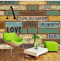 バー英語アルファベット木目3D背景壁カスタム大きな壁画緑の絹の布の壁紙-120X100CM