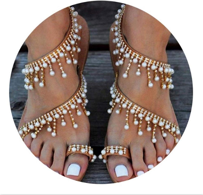 Sandals for Bunions Women Summer Handmade Beaded Toe Flat Sandals Ladies Sandals Slippers