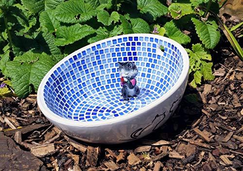 Vogeltränke Katzennapf Mauz weiß blau - Einzelstück