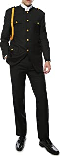 Ferrecci Mens Black 2 Piece Military Cadet Uniform with Gold Single Braid Aiguillette Cord