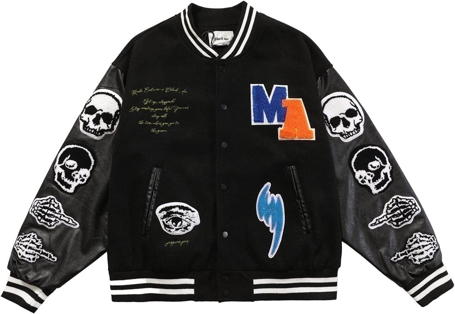 CRGSM Jackets Men Jackets College Cargo Winter Parka Jacket Baseball Sports Jacket Sweat Jacket Unisex Patchwork Hoodies Fashion Streetwear (Color : Black, Size : XX-Large)