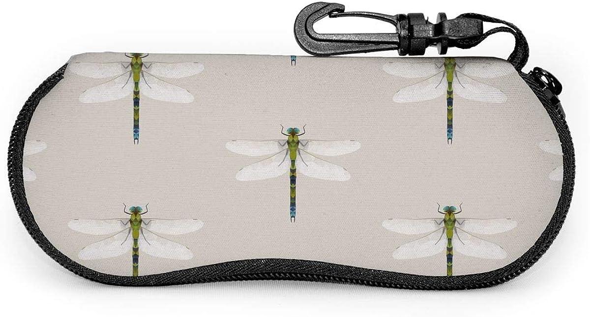 Dragonfly Sunglasses Soft Case Ultra Light Neoprene Zipper Eyeglass Case With Key Chain