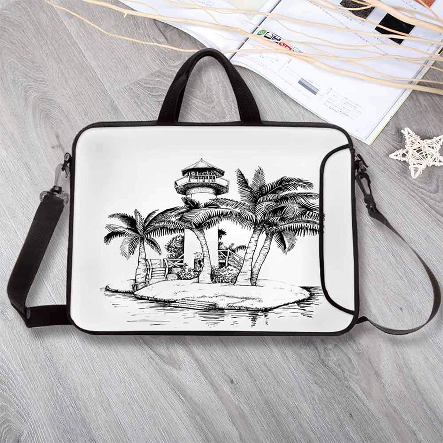 "Tropical Waterproof Neoprene Laptop Bag,Lighthouse on Island Surrounded with Palm Trees Exotic Landscape Sketchy Artwork Laptop Bag for Business Casual or School,14.6""L x 10.6""W x 0.8""H"