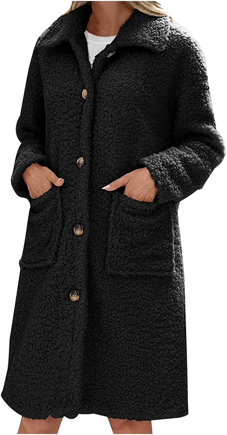 Overcoat for Women, Misaky Winter Leisure Grid Lapel Woolen Long Cardigan Jacket Trench Coat with Pockets