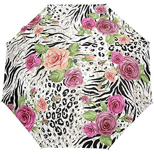 Tier Zebra Print Rose 3 Falten Auto Öffnen Schließen Anti-UV-Regenschirm