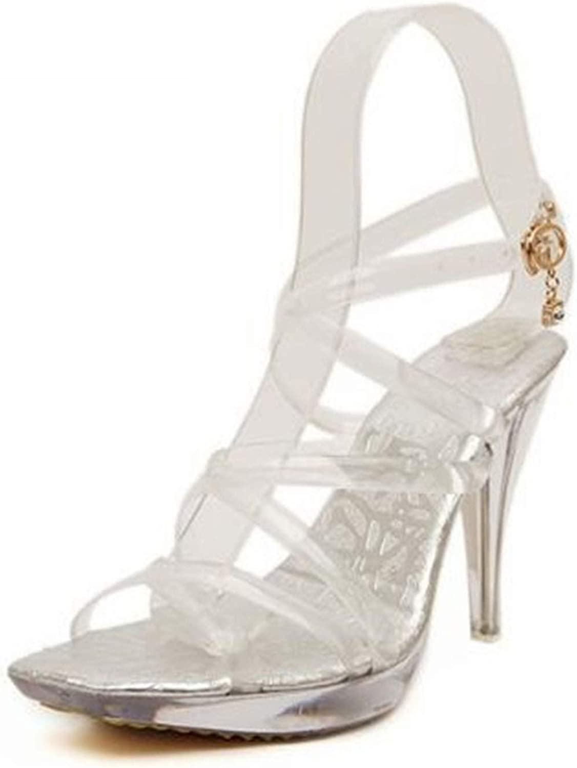Summer Transparent Crystal Fetish SM shoes Woman 10 cm Thin High Heels Open Toe Sexy Sandals Buckle Narrow Strap Pumps