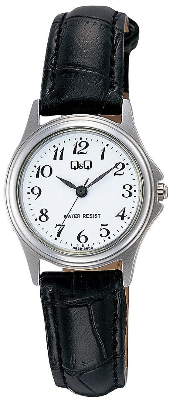 飼いならす突き出すベッドを作る[シチズン Q&Q] 腕時計 アナログ ステンレスモデル 防水 革ベルト W379-304 レディース ホワイト