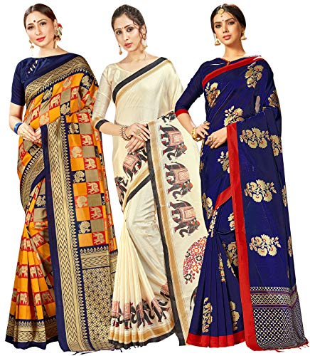 Mysore Art Sarees für Damen, indisches Geschenk, Sari, Hochzeit, Sari & nicht genäht, 3 Stück Gr. One size, Kombi 2