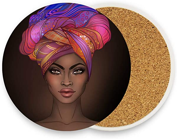African American Gir Drink Coasters Mats Moisture Absorbing Stone Coasters With Cork Base Prevent Furniture From Dirty And Scratched Stone Coasters Set Suitable For Kinds Of Mugs And Cups