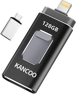 Clé USB 3.0 128 Go Compatible pour iPhone Flash Drive 4 in 1 avec Connecteur Extension de Stockage Mémoire Stick pour iOS ...
