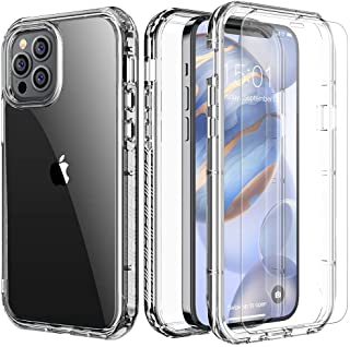 FLOVEME iPhone 12 Case Clear with Screen Protector [2 Pack] - 2020 iPhone 12 Pro Clear Case 6.1