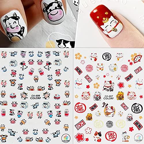 PMSMT Gato de la Suerte Pegatina de Ganado Mahjong Dios de la Riqueza uñas Falsas Pegatinas de Anime en el teléfono Accesorios de Arte de uñas de año Nuevo SACA683-700