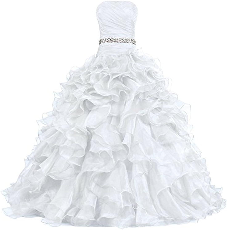 Jingliz Strapless Organza Long Bridesmaid Formal Evening Dress Party Prom