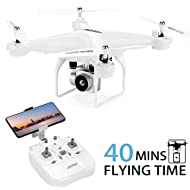 40Mins Flight Time Drone, JJRC H68 RC Drone with 720P HD Camera Live Video FPV Quadcopter with...