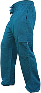 Shopoholic Fashion, pantaloni da uomo in cotone leggero con tasca laterale, stile hippy bohemien