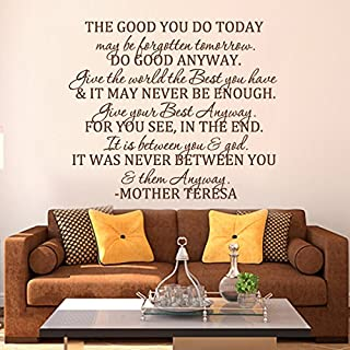 MairGwall The Good You Do Today -Do Good Anyway -Mother Teresa Quote Bible Verse Religious Decal Home Decor Living Room Sticker(X-Large,Dark Brown)