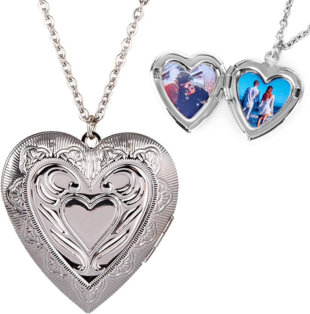 Personalized Large Heart-shape Locket With 2 Picture Inside Engraved Pendant Memorial Necklace Customizable Any Photo Text&Symbols for Women