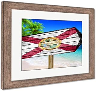 Ashley Framed Prints Florida Flag Wooden Sign On Beach, Wall Art Home Decoration, Color, 26x30 (Frame Size), Rustic Barn Wood Frame, AG6454480