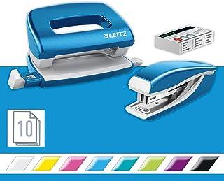 Leitz 55612036 Set avec Mini-Agrafeuse & Mini-Perforateur, Agrafage ou Perforation jusqu'à 10 Feuilles, Agrafes P2 N°10 In...