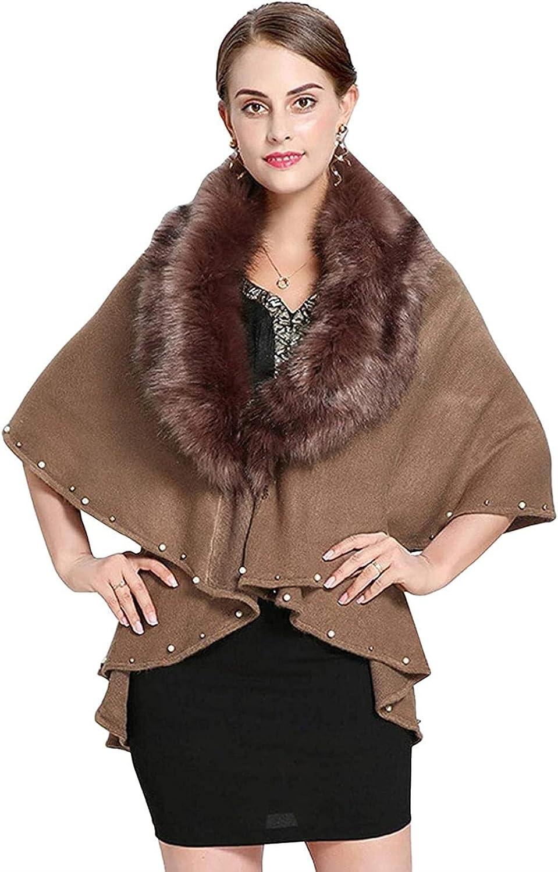 Women's Faux Fur Collar Embellished Knit Wrap Shawl Cape Coat