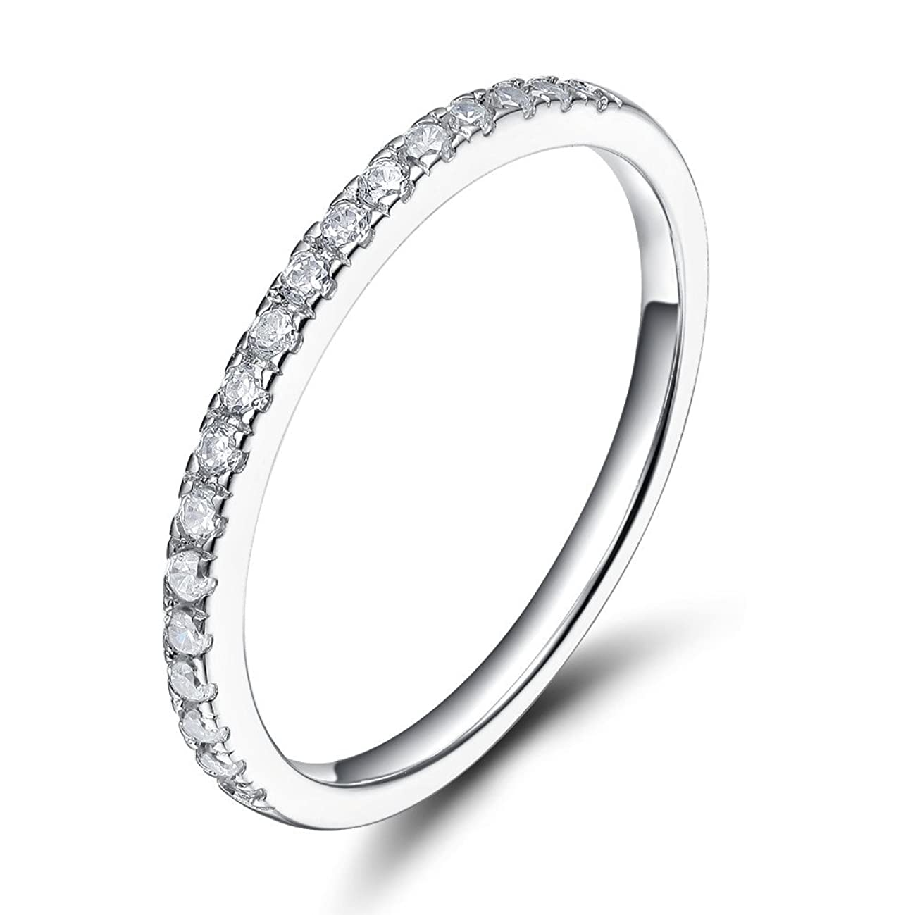 EAMTI 2mm 925 Sterling Silver Wedding Band Cubic Zirconia Half Eternity Stackable Engagement Ring Size 3-12