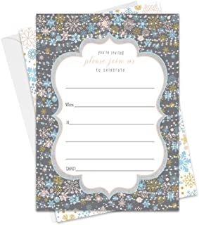 Winter Wonderland Christmas Invitations with Envelopes (25 Pack) Fill in The Blank Invite Cards Perfect for Holiday Parties Baby Shower Kids Birthday