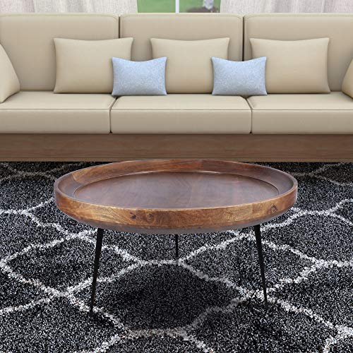 The Urban Port Round Mango Wood Coffee Table with Splayed Metal Legs, Brown and Black