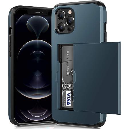 ACOCOBUY Compatible con iPhone 12 Pro Max Funda a Prueba de Golpes Funda tipo Cartera para iPhone 12 Pro Max con tarjetero protectora de doble capa, funda de goma para iPhone 12 Pro Max Marino