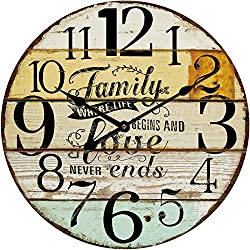 M&M Trading Wall Clock Family Love Never Ends 23 x 23 inches Quartz Movement
