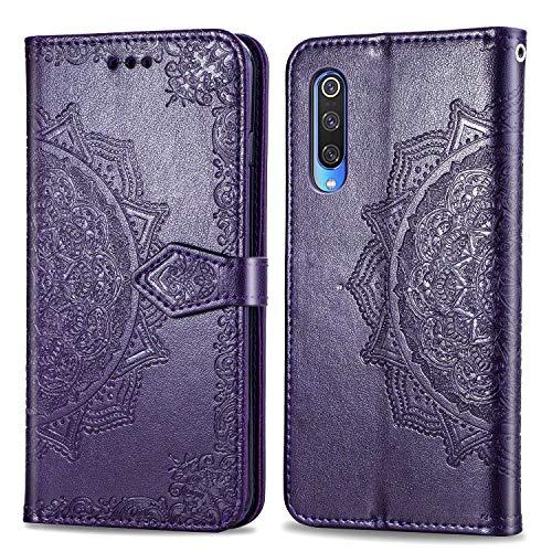 Bear Village Hülle für Xiaomi MI 9 Pro, PU Lederhülle Handyhülle für Xiaomi MI 9 Pro, Brieftasche Kratzfestes Magnet Handytasche mit Kartenfach, Violett