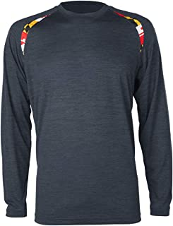 Covalent Activewear Maryland State Souvenir Long Sleeve Gift T-Shirt with Maryland Flag Shoulder Inserts