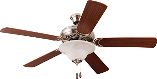 high quality Craftmade Lighting DCF52BNK5C1 Decorator's Choice - online sale 52 Inch Dual Mount Ceiling Fan, Brushed outlet online sale Nickel Finish with Light Maple/Mahogany Blade Finish with Alabaster Glass outlet online sale
