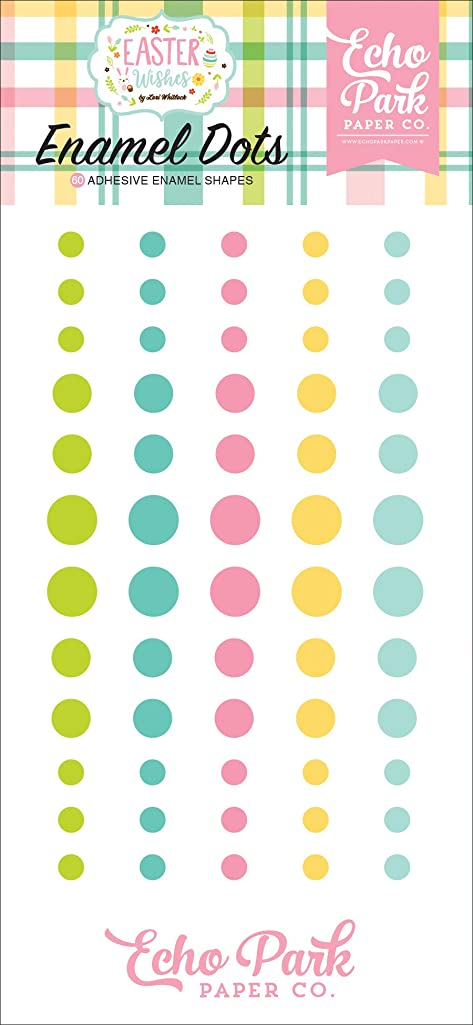 Echo Park Paper Company Easter Wishes Enamel dots, Pink, Yellow, Teal, Green, Brown, Orange