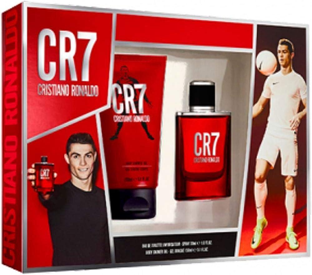 Cristiano ronaldo, set fraganze - 180 ml,eau de toilette per uomo 30 ml + gel doccia 150 ml 10014086