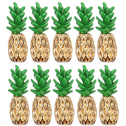 Vivicap - 50 colgantes de piña de aleación para hacer joyas, collares, pulseras, pendientes, accesorios de joyería