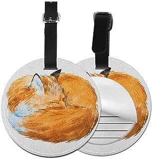 Modern round luggage tag Animal Hanging on the suitcase Cute Fox Sleeping Funny Creature Kids Nursery in Watercolor Artwork Design,Diameter3.7