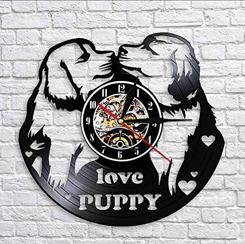 ysurehom 30X30Cm Liebe Welpen Möpse Küssen Wanduhr Hundehütten Dekorationen HundSchallplatte Wanduhr Hunderassen Uhr Wanduhr